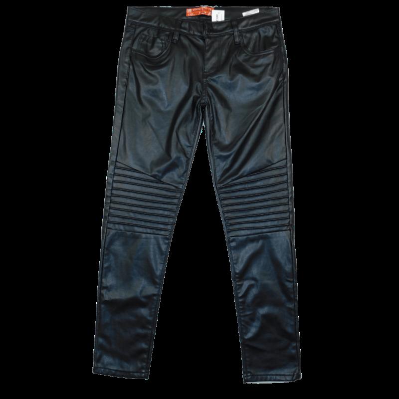 Fekete, motoros stílusú, térdénél csíkos, szűk szárú, műbőr nadrág. Hátul rávarrt zsebekkel.