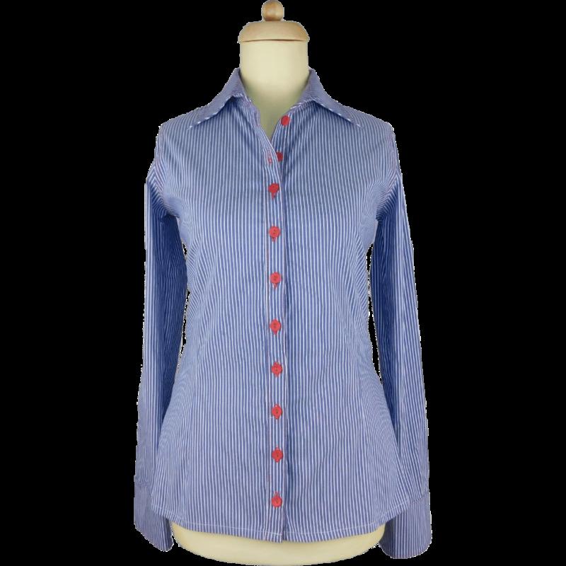 Szürkéskék alapon fehér csíkos ing, hátul piros hímzéssel díszített, karcsúsított ing