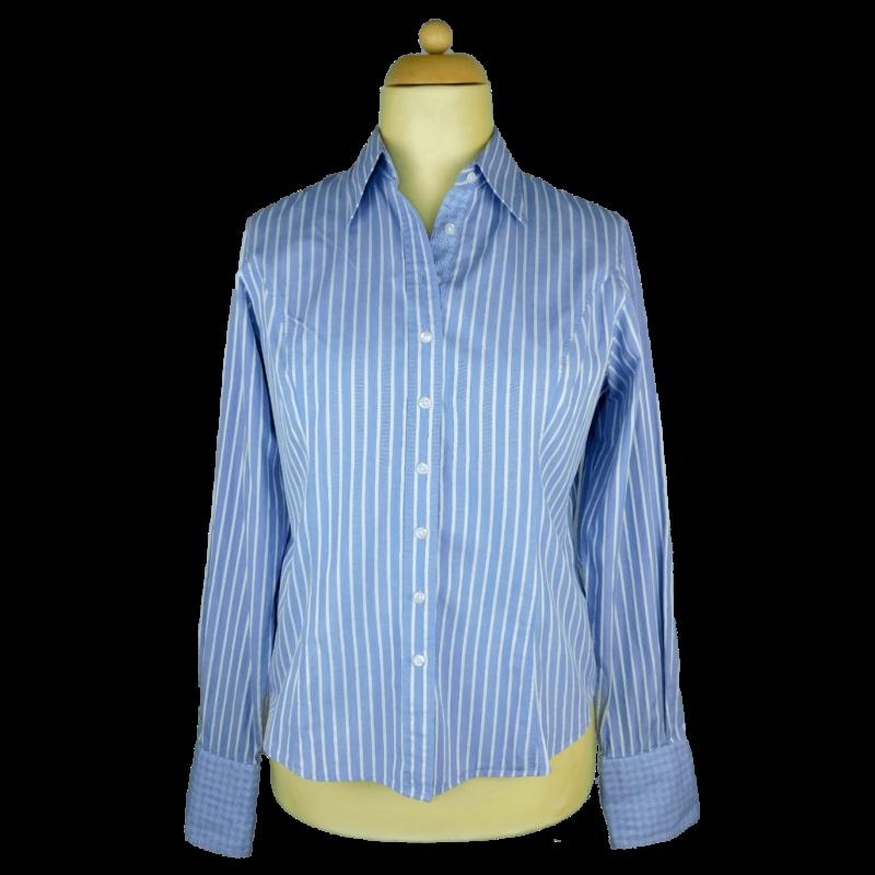 Kékesszürke-fehér, karcsúsított, mandzsettás ing